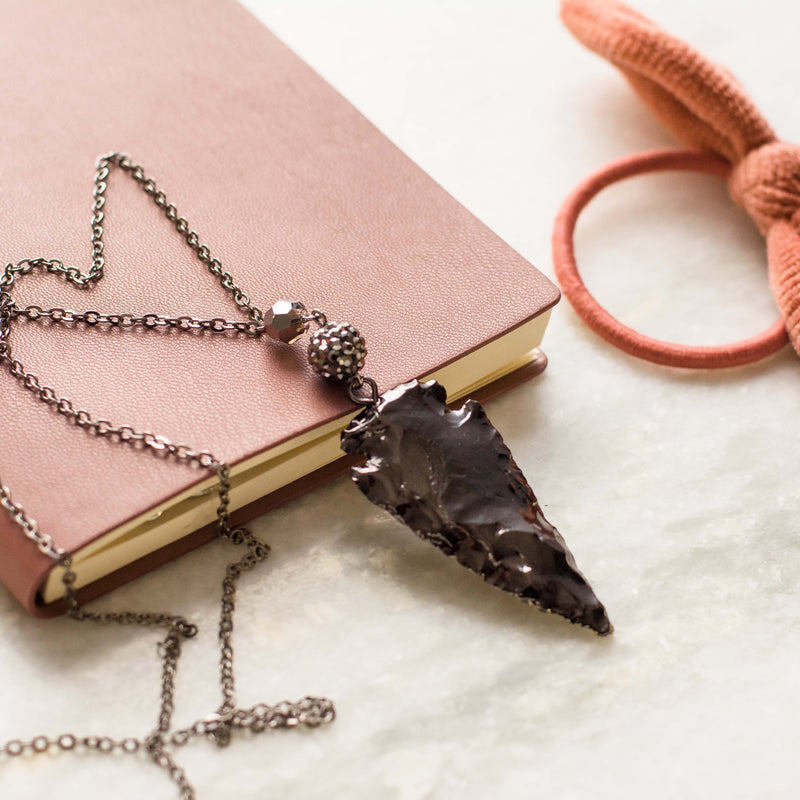 Gunmetal Arrowhead Necklace