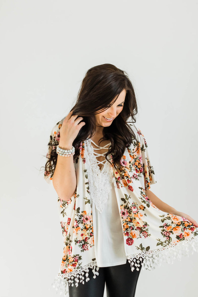 Floral Kimono with Lace