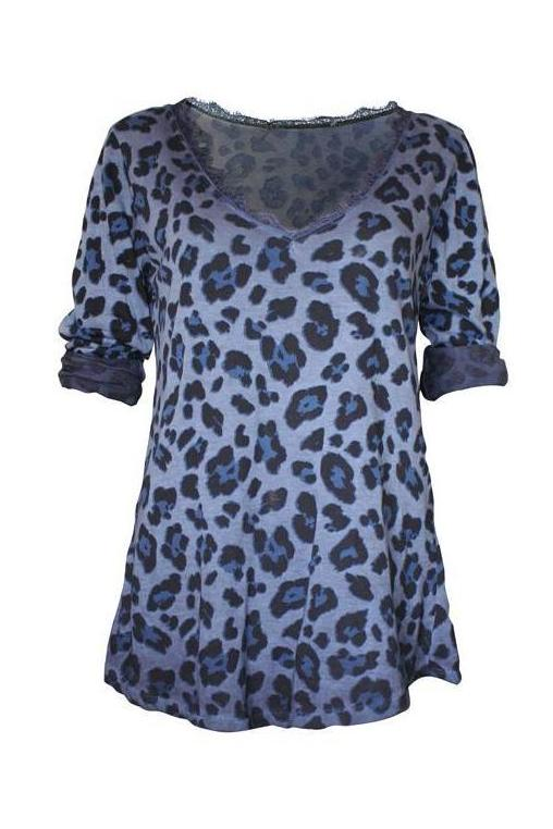 Camiseta animal-print azul
