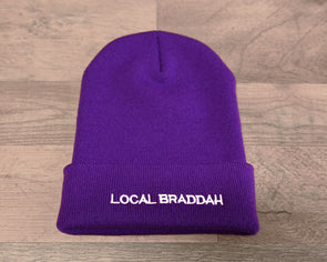 Cuffed Knit Beanie - Purple