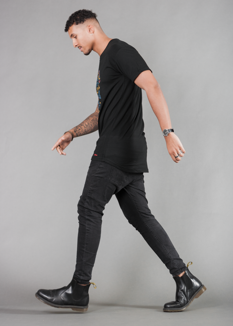 Astral Long Tee in Black - Urbeon
