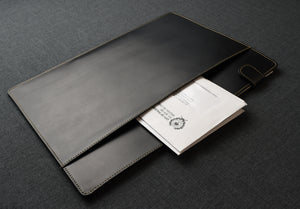 Document Folder - Black Leather