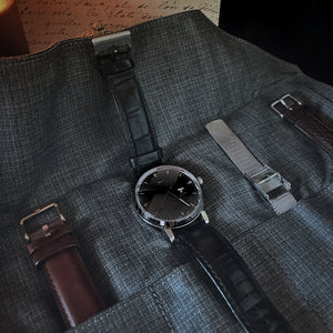 5 Watch Roll - Black Leather & Suit Grey