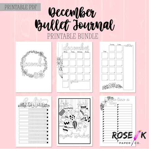 December 2018 Bullet Journal Printable Bundle