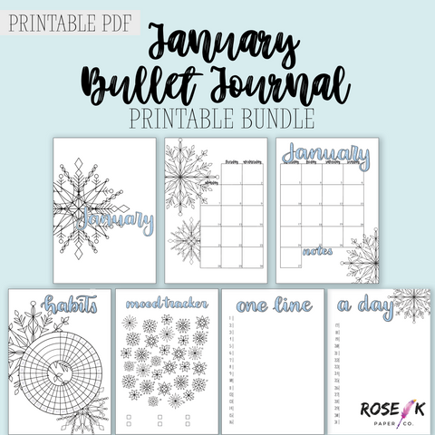 Free January 2019 Bullet Journal printable bundle including monthly log, habit tracker, mood tracker, gratitude log, snowflake theme