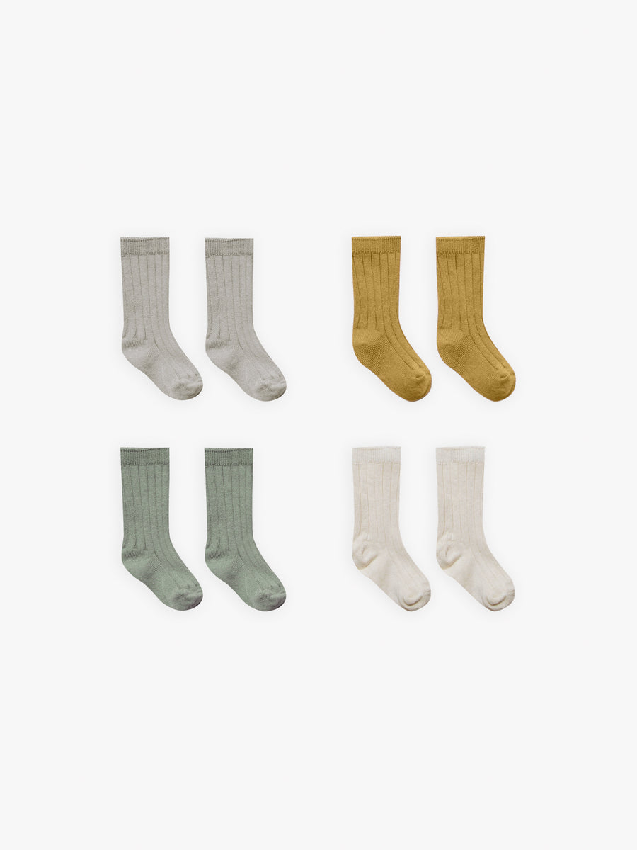 Baby Socks | fog, ochre, natural, moss - Quincy Mae