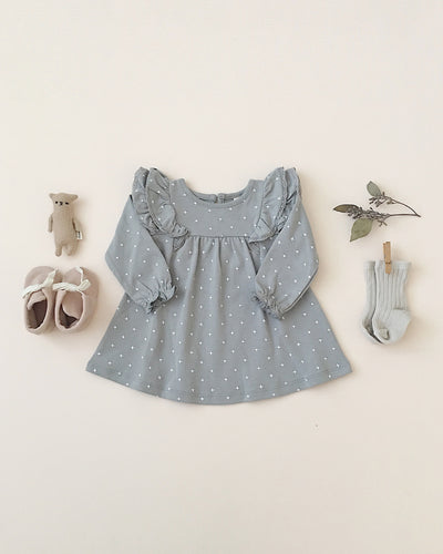longsleeve flutter dress | dusty blue
