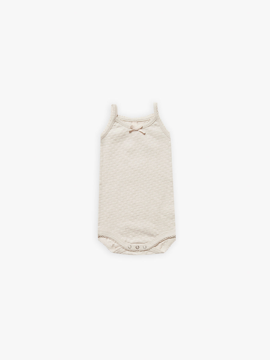 Pointelle Tank Onesie | natural - Quincy Mae