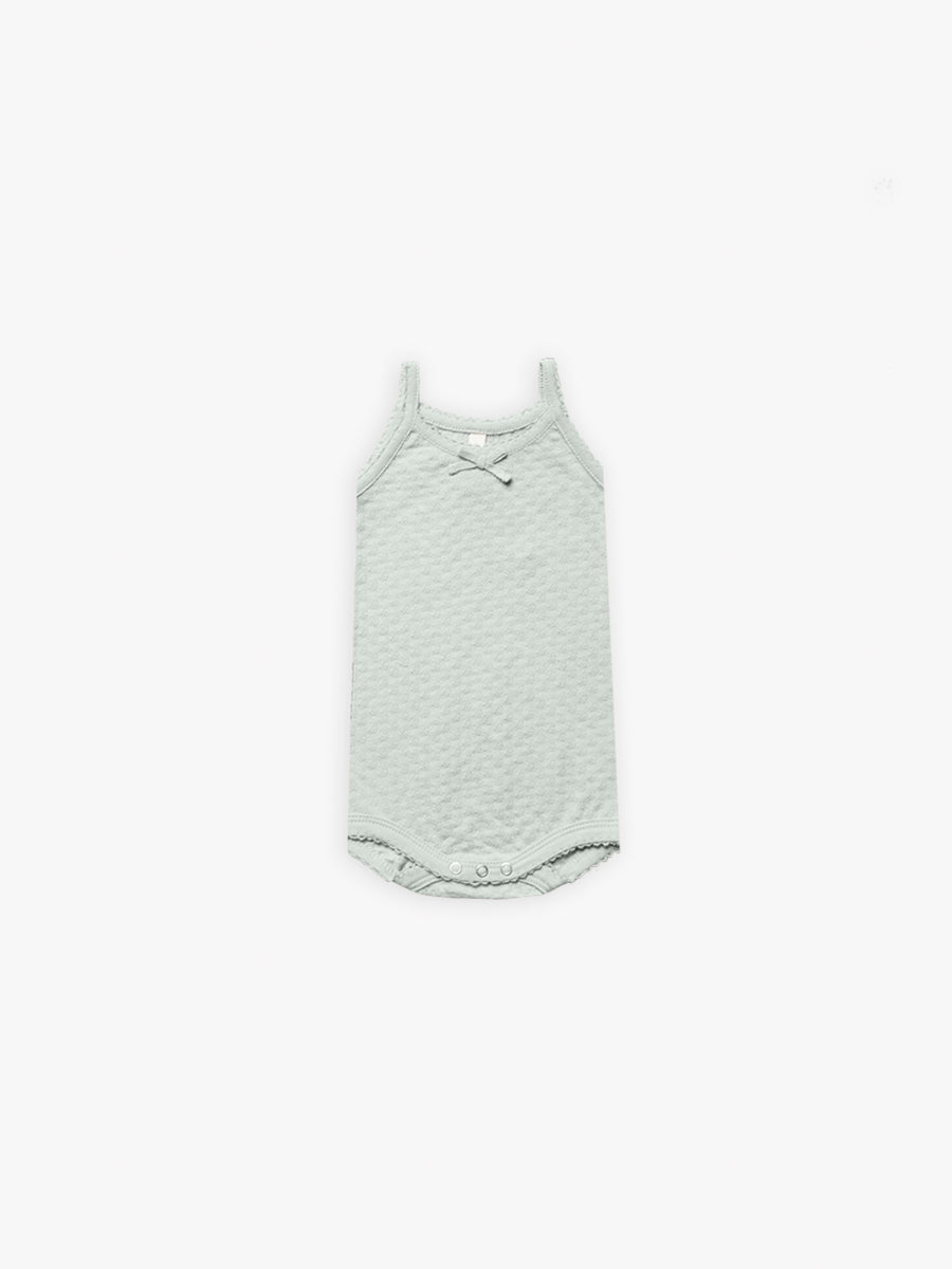 Pointelle Tank Onesie | sea glass