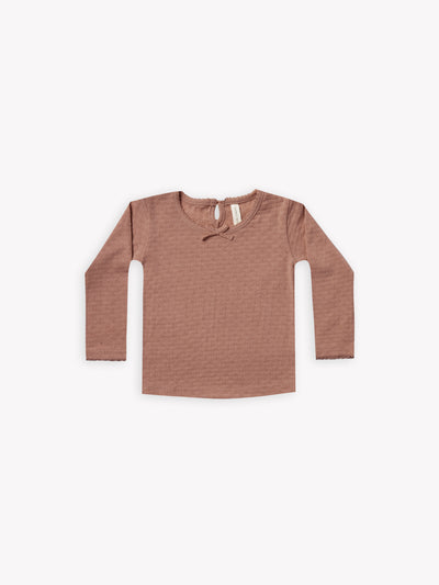 longsleeve pointelle tee | clay - Quincy Mae | Baby Basics | Baby Clothing | Organic Baby Clothes | Modern Baby Boy Clothes |