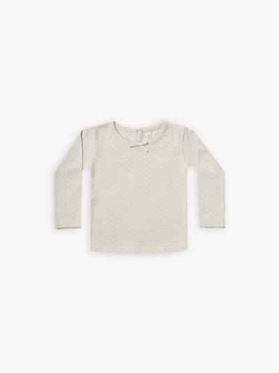 longsleeve pointelle tee | pebble