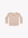 longsleeve pointelle tee | rose - Quincy Mae