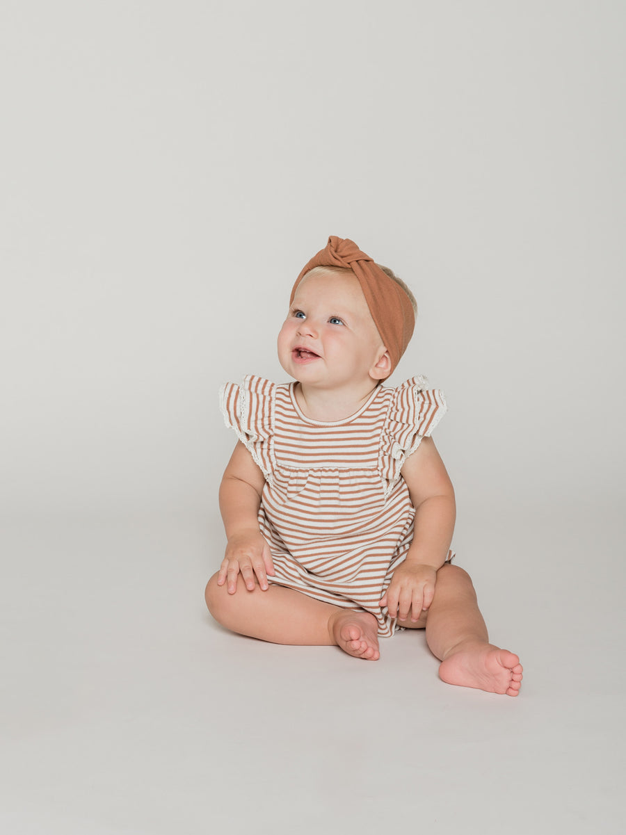 Flutter Dress | rust stripe - Quincy Mae