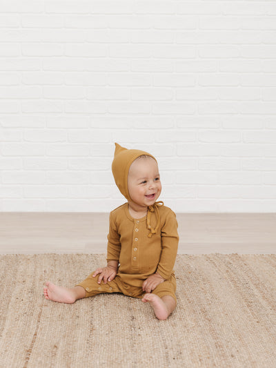 Ribbed Baby Jumpsuit | ochre - Quincy Mae
