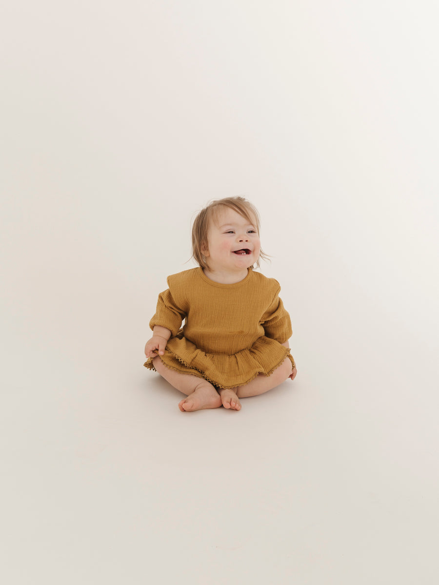 Rosie Romper | ochre - Quincy Mae | Baby Basics | Baby Clothing | Organic Baby Clothes | Modern Baby Boy Clothes |