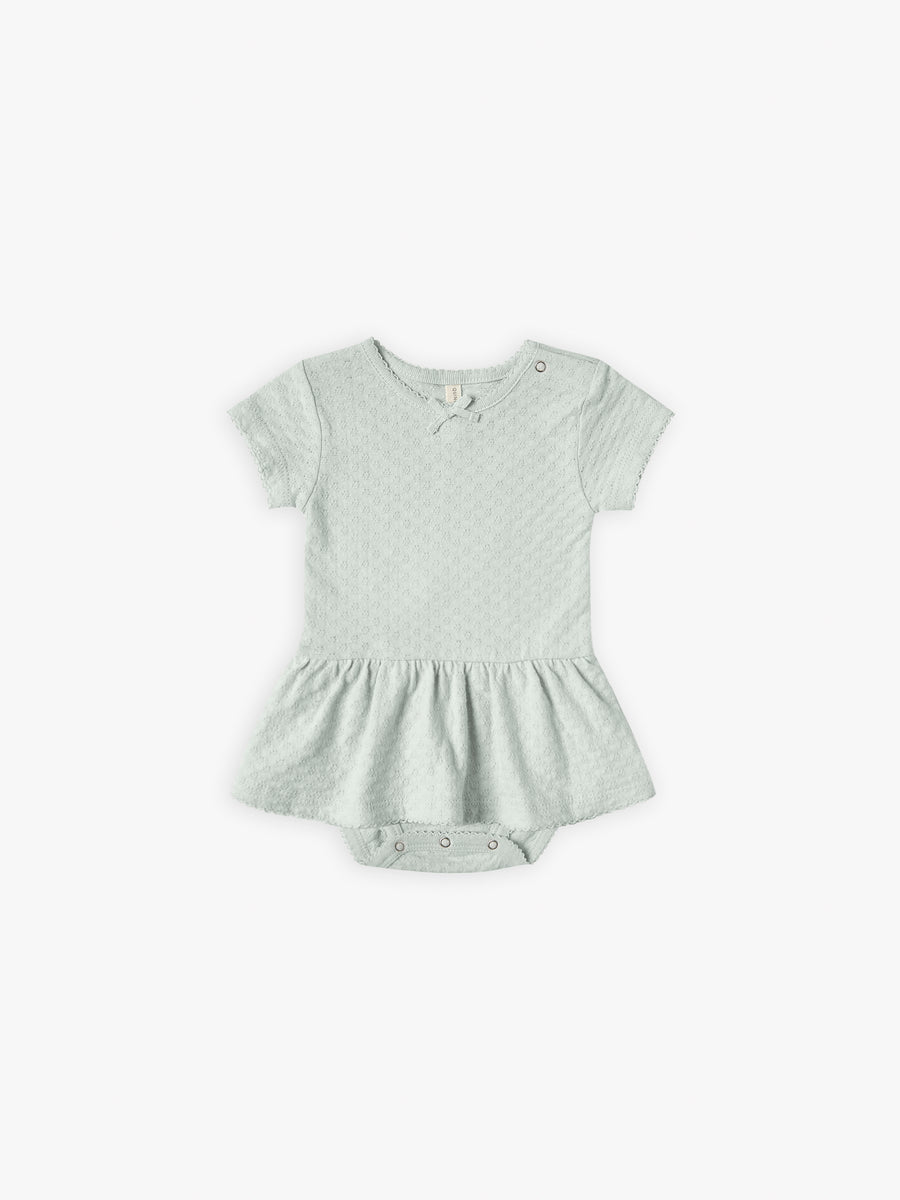 Pointelle Skirted Onesie | sea glass - Quincy Mae