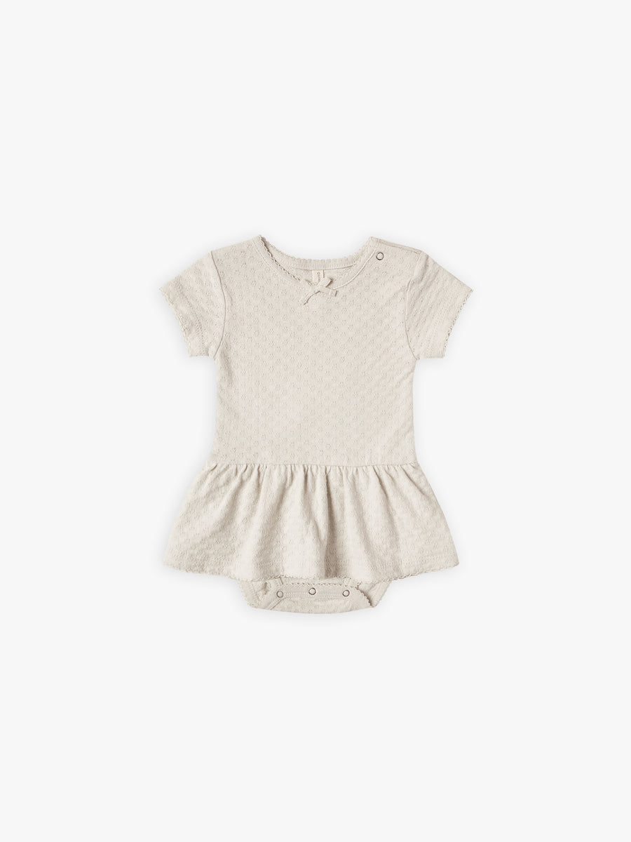 Pointelle Skirted Onesie | natural - Quincy Mae