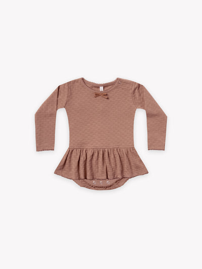 pointelle skirted bodysuit | clay