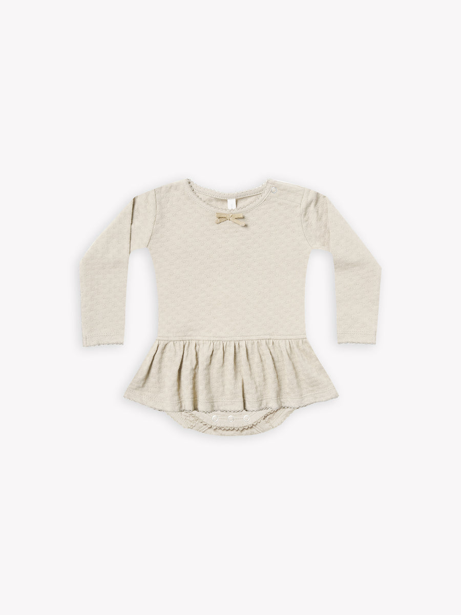 pointelle skirted bodysuit | pebble