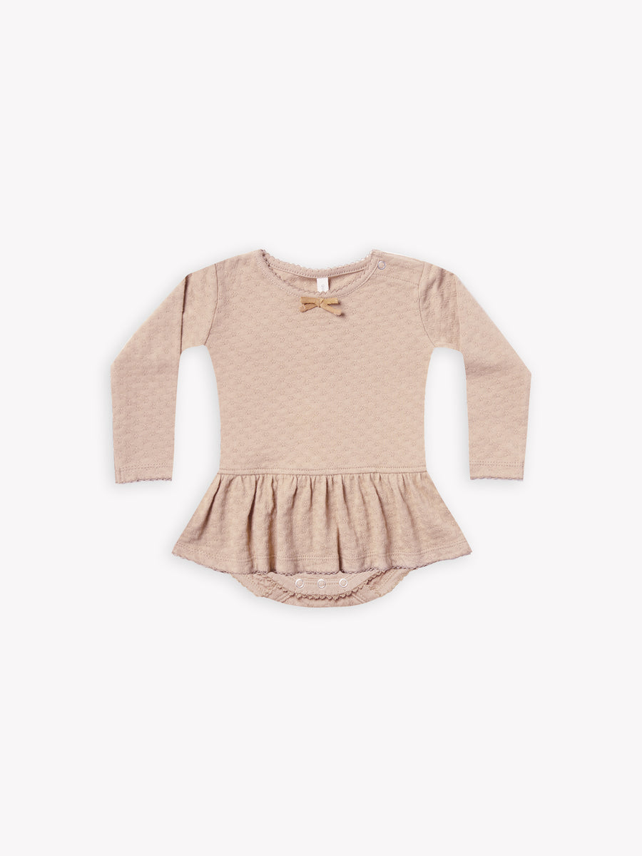 pointelle skirted bodysuit | rose