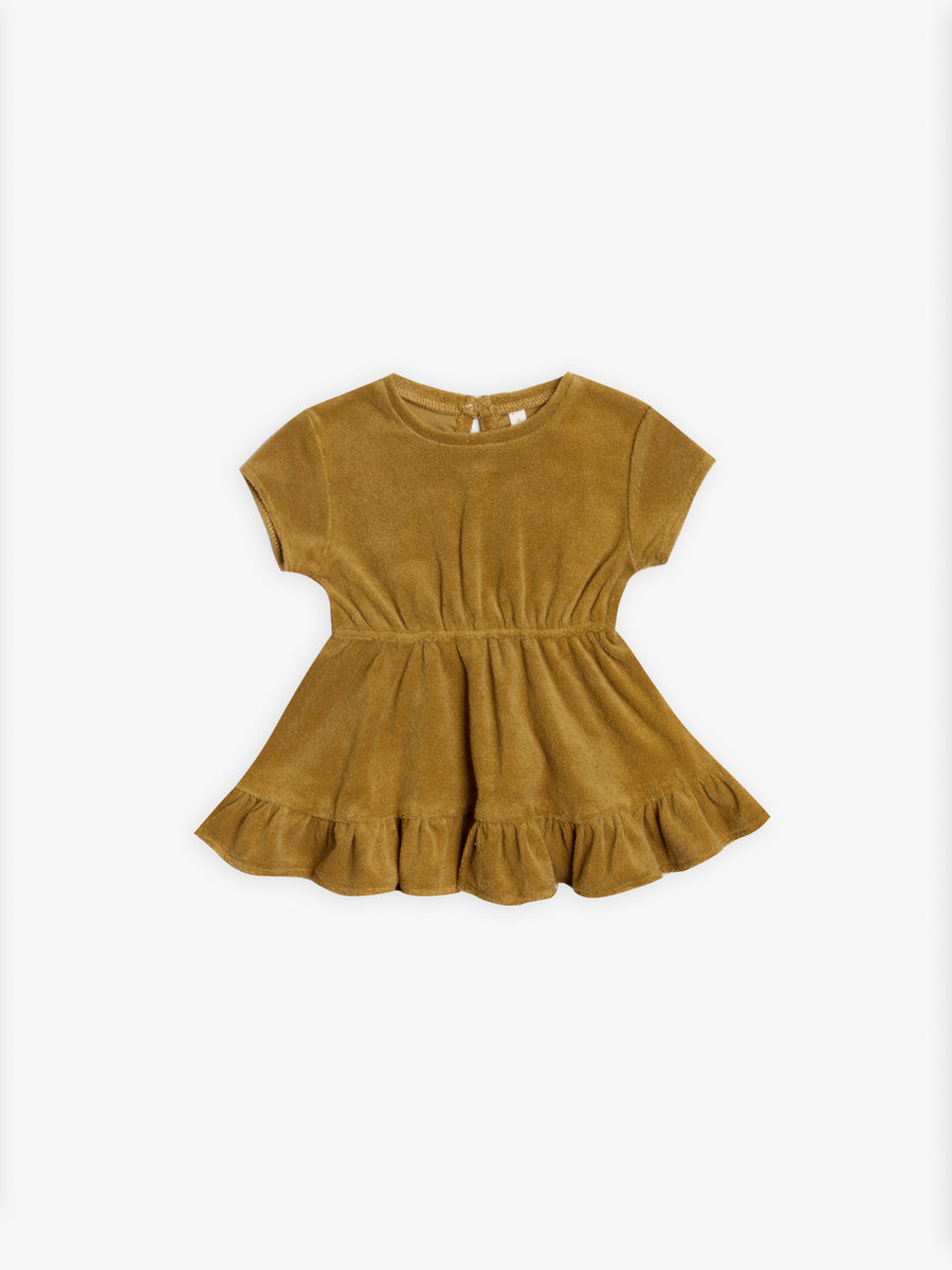Terry Dress | ochre - Quincy Mae | Baby Basics | Baby Clothing | Organic Baby Clothes | Modern Baby Boy Clothes |