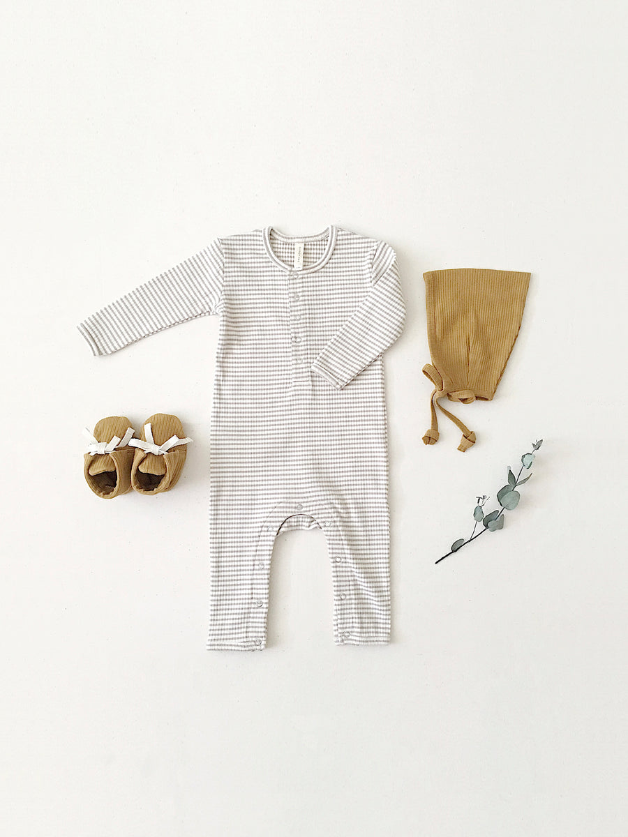 Ribbed Baby Jumpsuit | fog stripe