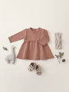 fleece dress | clay