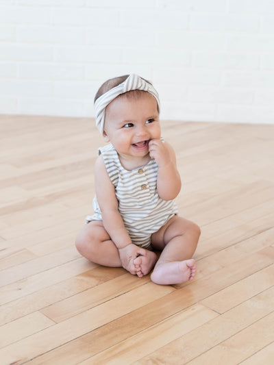 Baby Turban | Grey Stripe