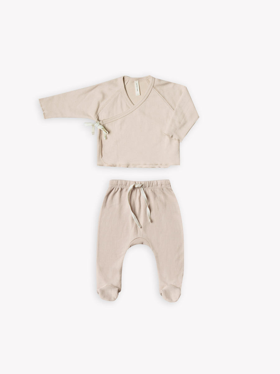 kimono top + footed pant set | rose