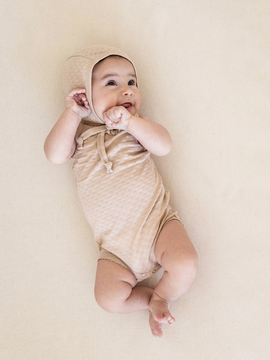 Pointelle Tank Onesie | Rose