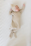 Ribbed Knotted Baby Gown | walnut stripe