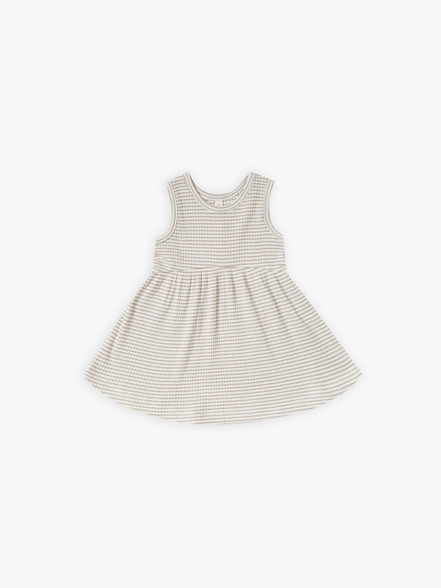 Ribbed Tank Dress | fog stripe