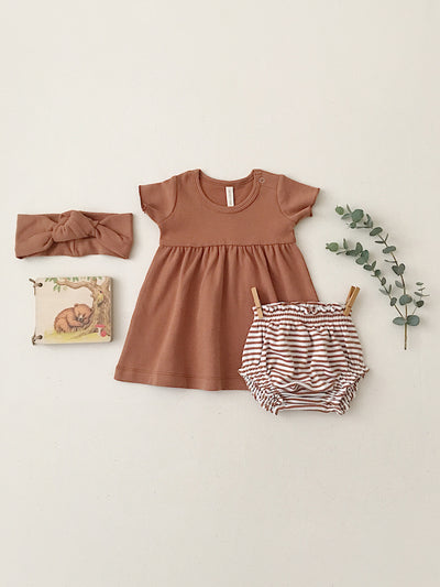 Short Sleeve Baby Dress | rust - Quincy Mae