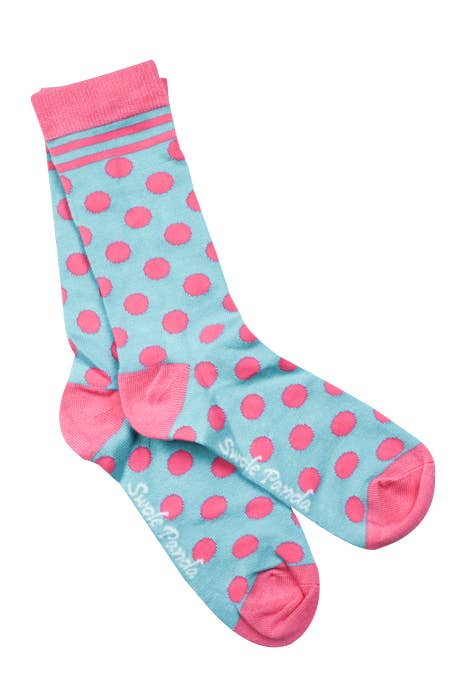 Blue and Pink Polka Dot Bamboo Socks