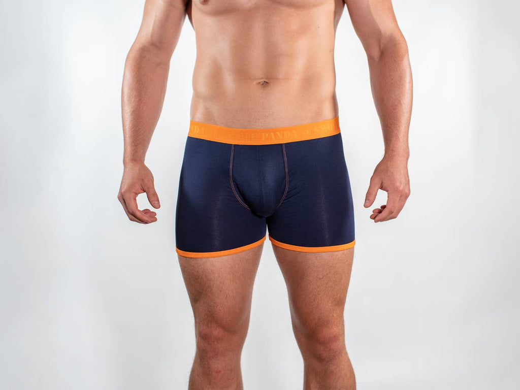 Navy and Orange Band Bamboo Boxers