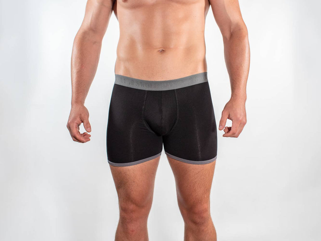 Black and Grey Band Bamboo Boxers
