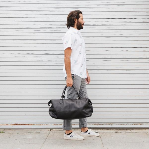 Gunner Vegan Leather Duffle Bag in Black