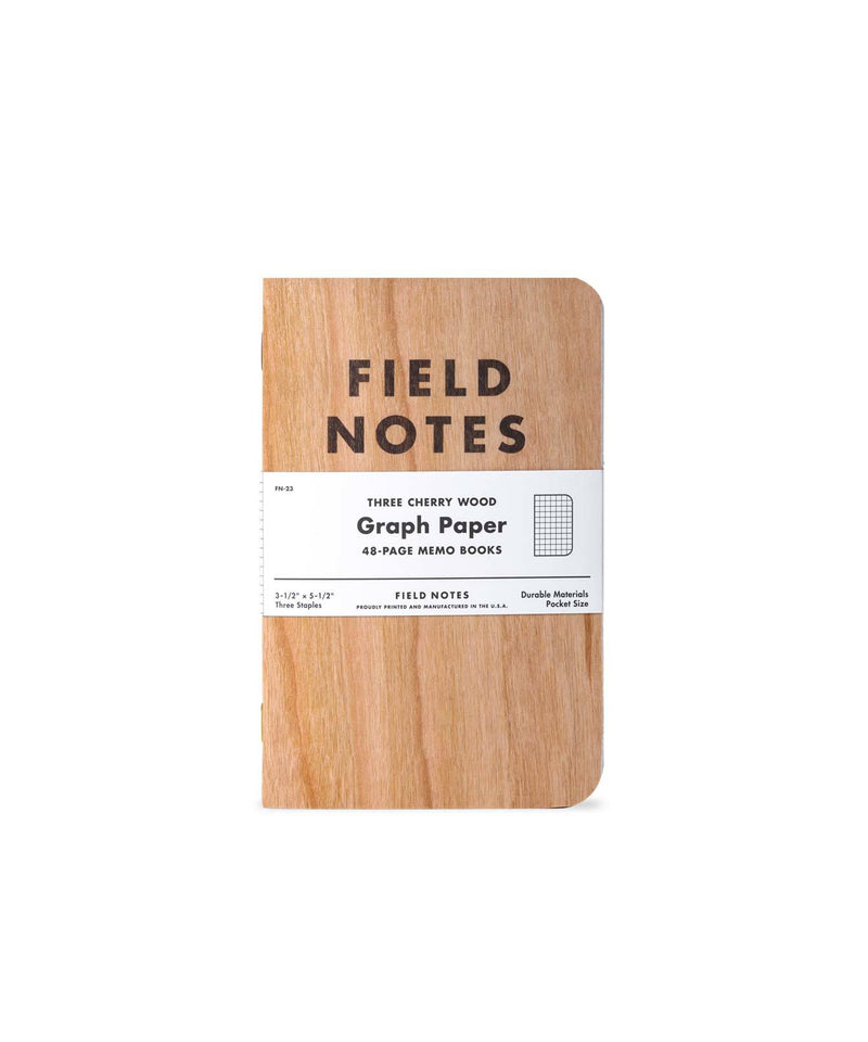 CHERRY WOOD GRAPH PAPER SET OF THREE NOTEBOOKS