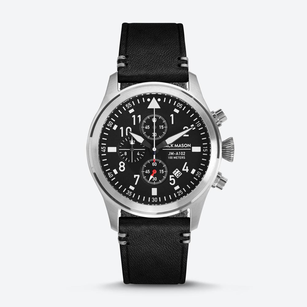 PURSUIT AVIATOR CHRONOGRAPH BLACK DIAL/BLACK LEATHER STRAP