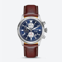 PURSUIT AVIATION CHRONOGRAPH NAVY DIAL WITH BROWN LEATHER STRAP