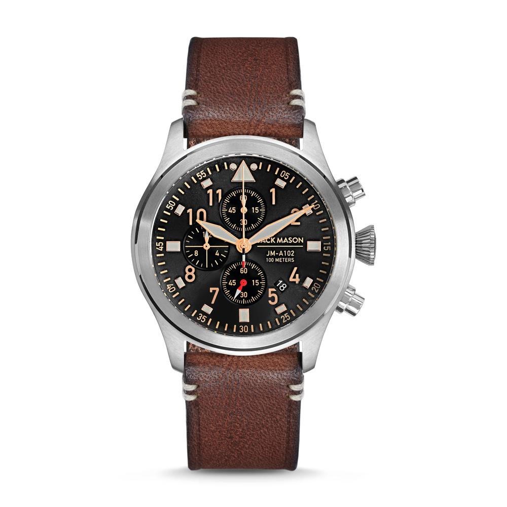 PURSUIT AVIATION CHRONOGRAPH BLACK DIAL WITH BROWN LEATHER STRAP