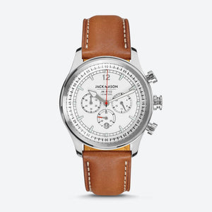 HAYLARD NAUTICAL CHRONOGRAPH WHITE DIAL WITH TAN LEATHER STRAP