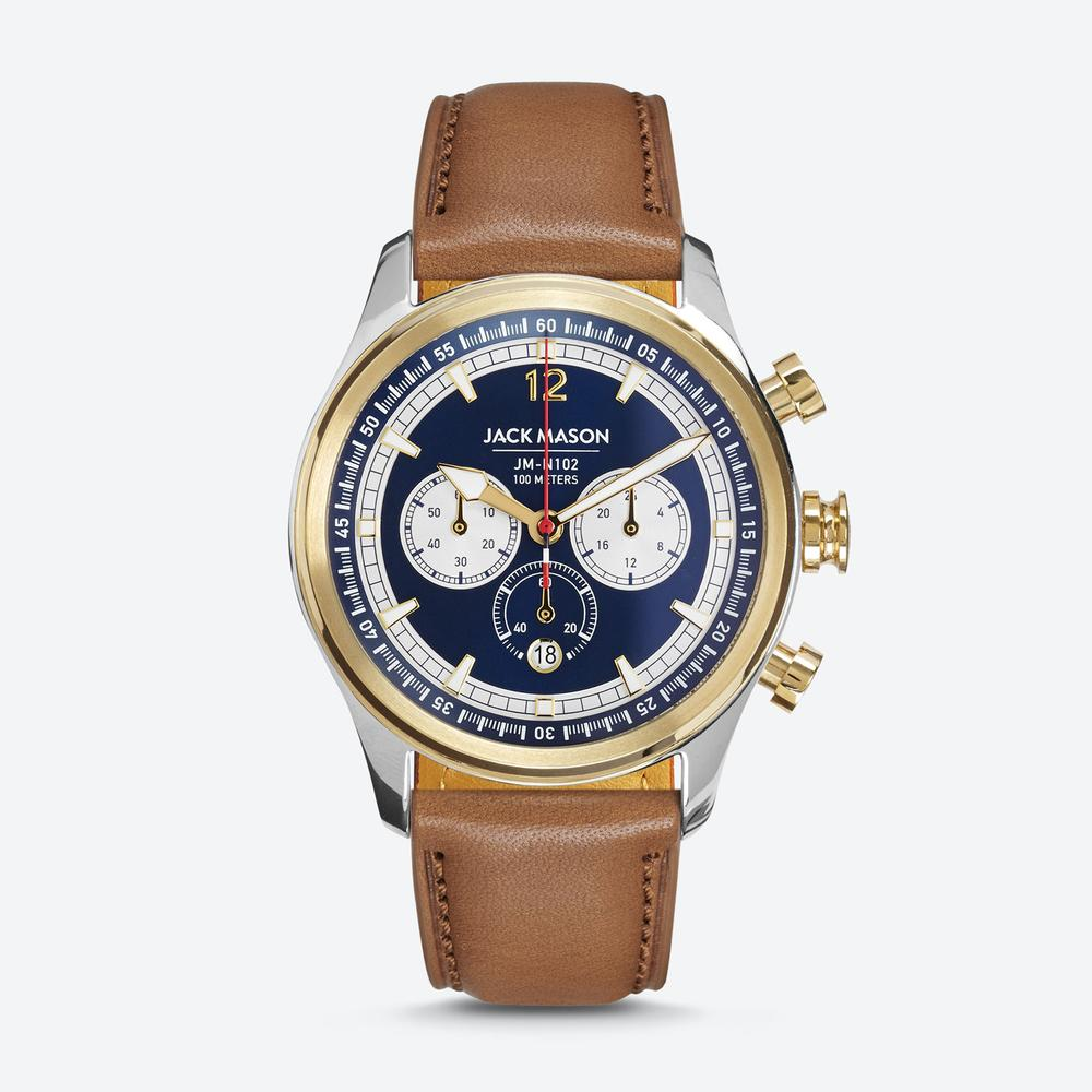 HALYARD NAUTICAL CHRONOGRAPH NAVY DIAL WITH TAN LEATHER STRAP