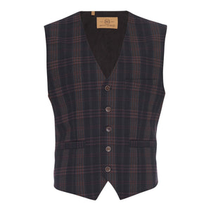 Albert Stretch Vest in Navy Plaid