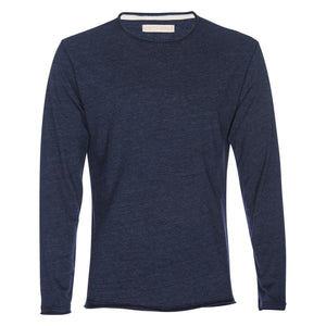 Ryan Raw Seam Recycled Cotton/Poly Crew in Navy