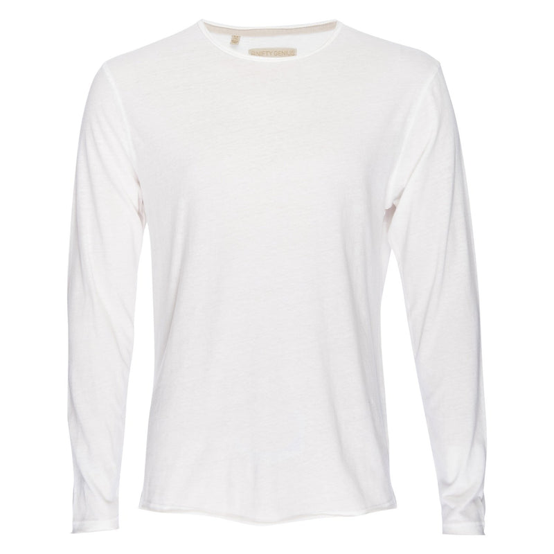 Ryan Raw Seam Recycled Cotton/Poly Crew in White