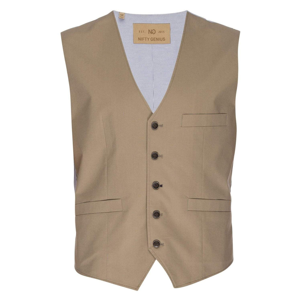 Albert Stretch Typewriter Cloth Vest in Tan