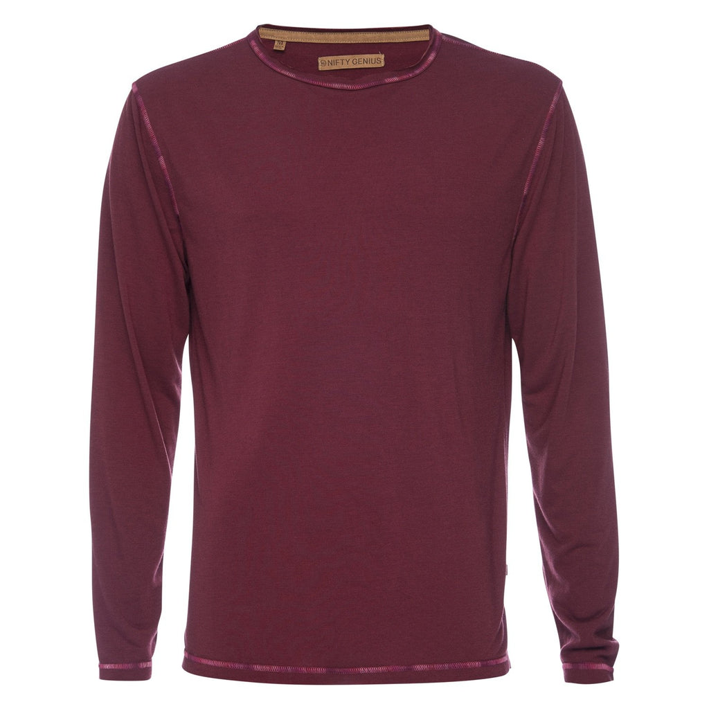 Ryan Raw Seam Ombre Stitch Crew Neck in Magenta