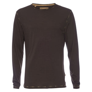 Ryan Raw Seam Ombre Stitch Crew Neck in Brown