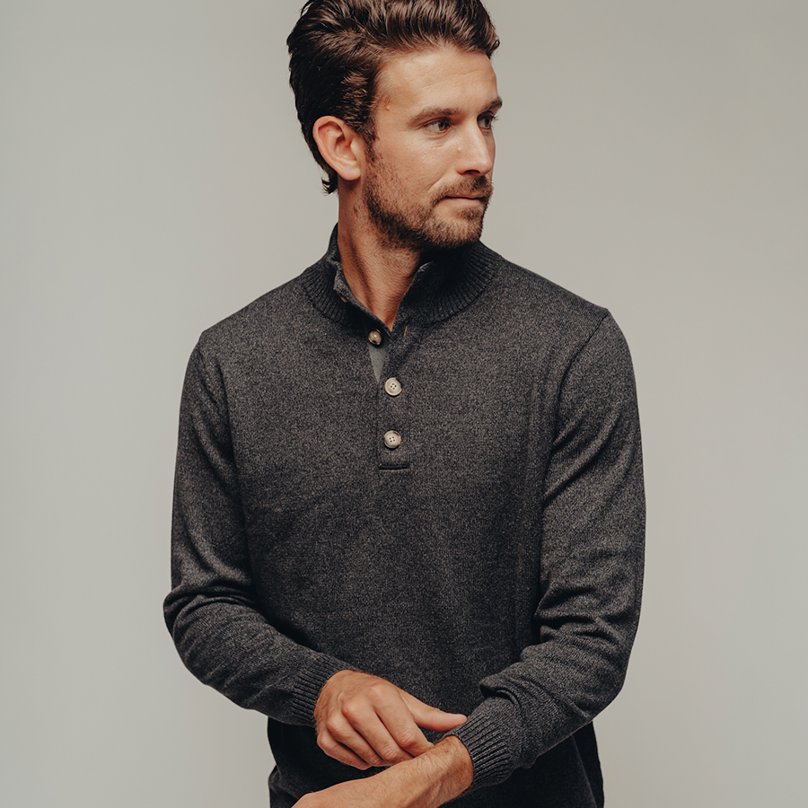 Roll Hem Button Pullover-Charcoal